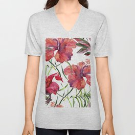 Tropical Background. watercolor tropical leaves and plants. Hand painted jungle greenery background Unisex V-Neck