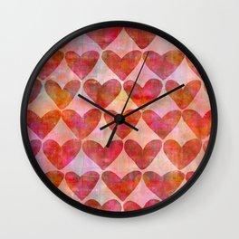 red Hearts mixed media pattern Wall Clock