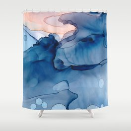Hallowed Fluid ink abstract watercolor Shower Curtain