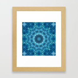 Blue mandala . Kaleidoscope . Winter . Framed Art Print