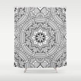 Black White Mandala Background Pattern Shower Curtain
