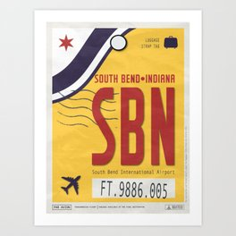 Vintage South Bend Indiana Luggage Tag Poster Art Print