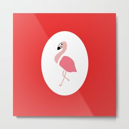 Polly the Pink Flamingo - Red Metal Print