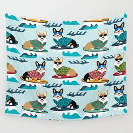 Corgi SUP Paddleboarding surfing watersports athlete summer fun dog breed Wall Tapestry