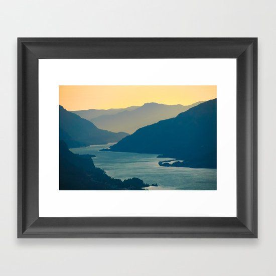 Columbia River Gorge at Sunset, from Courtney Ridge Framed Art Print