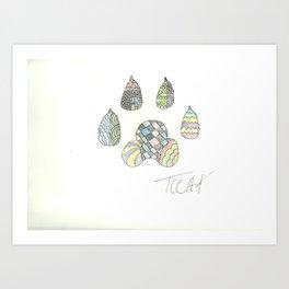 Mosaic Pawprint Art Print