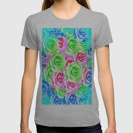 colorful rose pattern abstract in pink blue green T-shirt