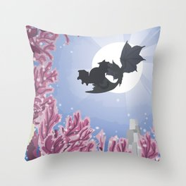 Coral Highlands (Monster Hunter) Travel Poster Throw Pillow