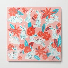 Bunnies & Blooms – Magenta & Cyan Metal Print