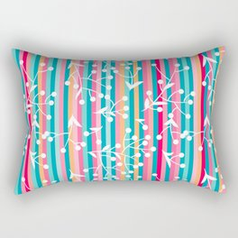 Flowers And Leaves On Strippes Background Pattern Rectangular Pillow