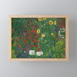Gustav Klimt - Farm Garden With Flowers Framed Mini Art Print
