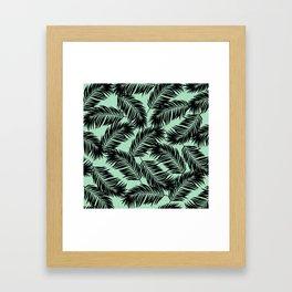 Palm Frond Tropical Décor Leaf Pattern Black on Mint Green Framed Art Print