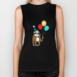 Cute Sloth 11th Birthday Apparel for Children Eleven Years Biker Tank