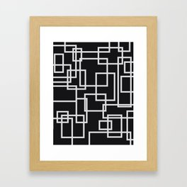 Geometric Cubic Line Pattern Black And White Framed Art Print