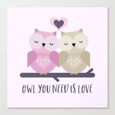 Owl is love Canvas Print