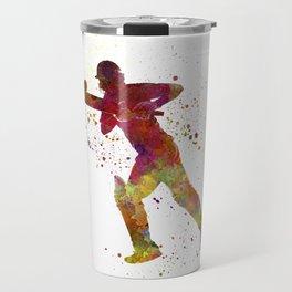 Cricket player batsman silhouette 06 Travel Mug