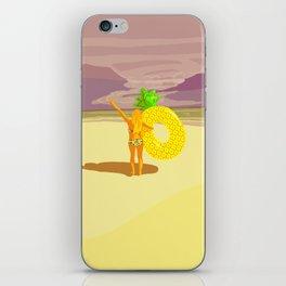 Vintage beach landscape girl taking a pineapple buoy iPhone Skin
