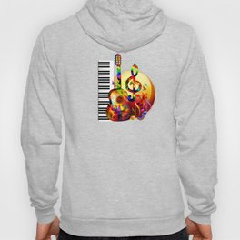 Colorful  music instruments painting, guitar, treble clef, piano, musical notes, flying birds Hoody