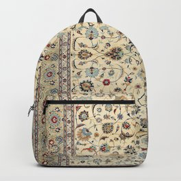 Persian Kashan Old Century Authentic Colorful Dusty Baby Blue Vintage Rug Pattern Backpack
