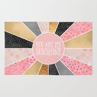 you are my sunshine Area & Throw Rugs featuring You are my sunshine by Elisabeth Fredriksson
