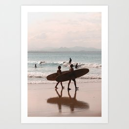 Byron Bay Sufers at Sunset (dusk tones) Art Print