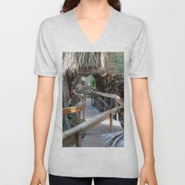 Wooden Pathway Through Desert Oasis 2 Coachella Valley Wildlife Preserve Unisex V-Neck