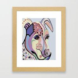 Jack Russell Terrier in Denim Colors Framed Art Print