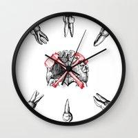 teeth Wall Clocks featuring Teeth by Ilya kutoboy
