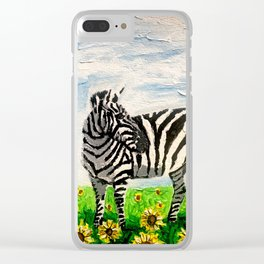 Stripes and Sunflowers Clear iPhone Case