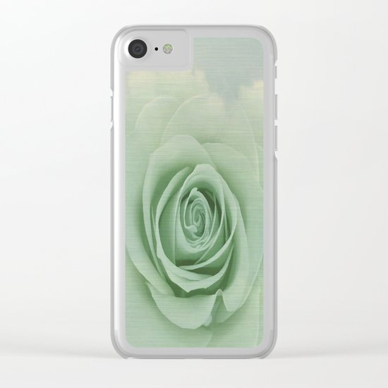 Dreamy Vintage Floating Rose Clear iPhone Case