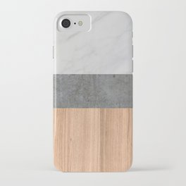 Carrara Marble, Concrete, and Teak Wood Abstract iPhone Case