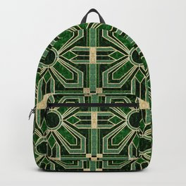 Art Deco Floral Tiles in Emerald Green and Faux Gold Backpack
