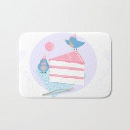 Bluebirds LOVE Birthday Cake Bath Mat
