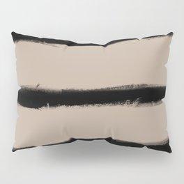 Medium Brush Strokes Horizontal Black on Nude Pillow Sham