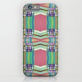 Coral Green Geometric Line Pattern iPhone Case