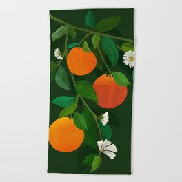 Oranges and Blossoms / Botanical Illustration Beach Towel