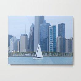 Sailing Past Chicago Metal Print