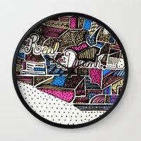 drunk Wall Clocks featuring drunk by Mariana Beldi
