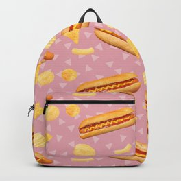 Hot Dogs and Chips - on Pink Backpack