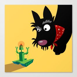 Scottie and robot Canvas Print