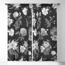 Vintage flowers on black Blackout Curtain