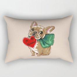 Be My Valentine Frenchie Rectangular Pillow