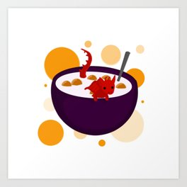 Dragon in A Bowl of Cereal Art Print