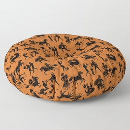 Greek Figures // Dark Orange Floor Pillow