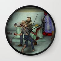 the last of us Wall Clocks featuring The Last of Us by Luis Lara