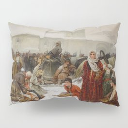 The Fall of Novgorod 1891 - Klaudii Vasilievich Lebedev Pillow Sham