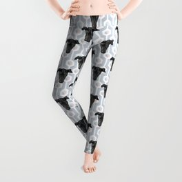 Cute Black Dog Faces on Abstract Gray Geometric Pattern Leggings