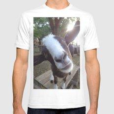Goat Barnyard Farm Animal White Mens Fitted Tee MEDIUM