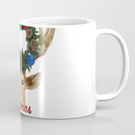 Merry Christmas Deer with Christmas wreath Coffee Mug