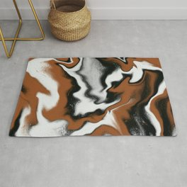 Black and Cognac Marble Design Rug
